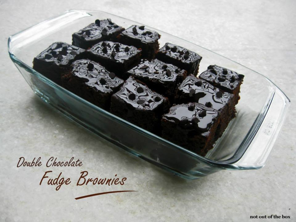Eggless Double Chocolate Fudge Brownie