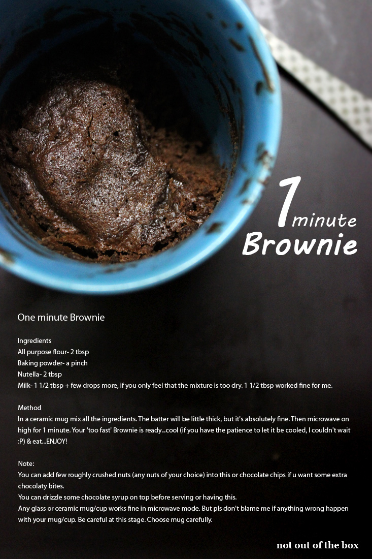 One minute Nutella Eggless Brownie