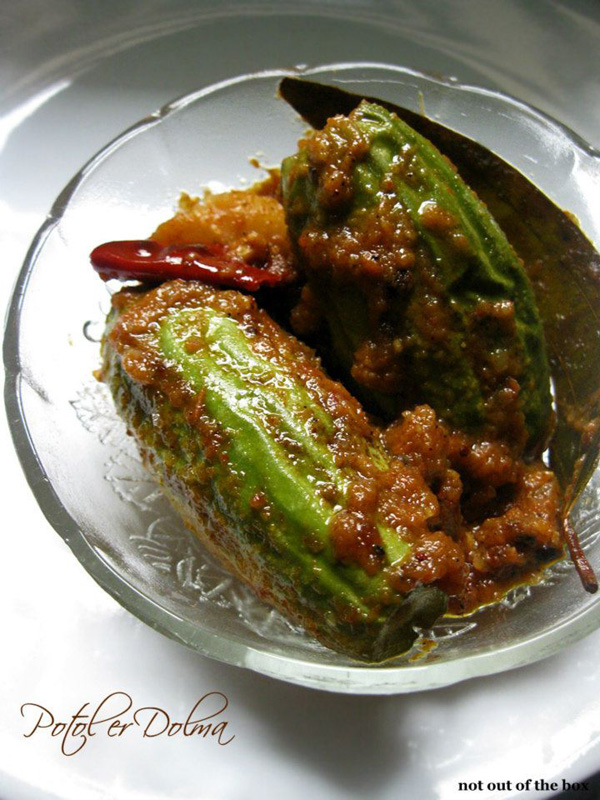 Chingri die Potole er Dolma/Stuffed Pointed Gourd with Prawns