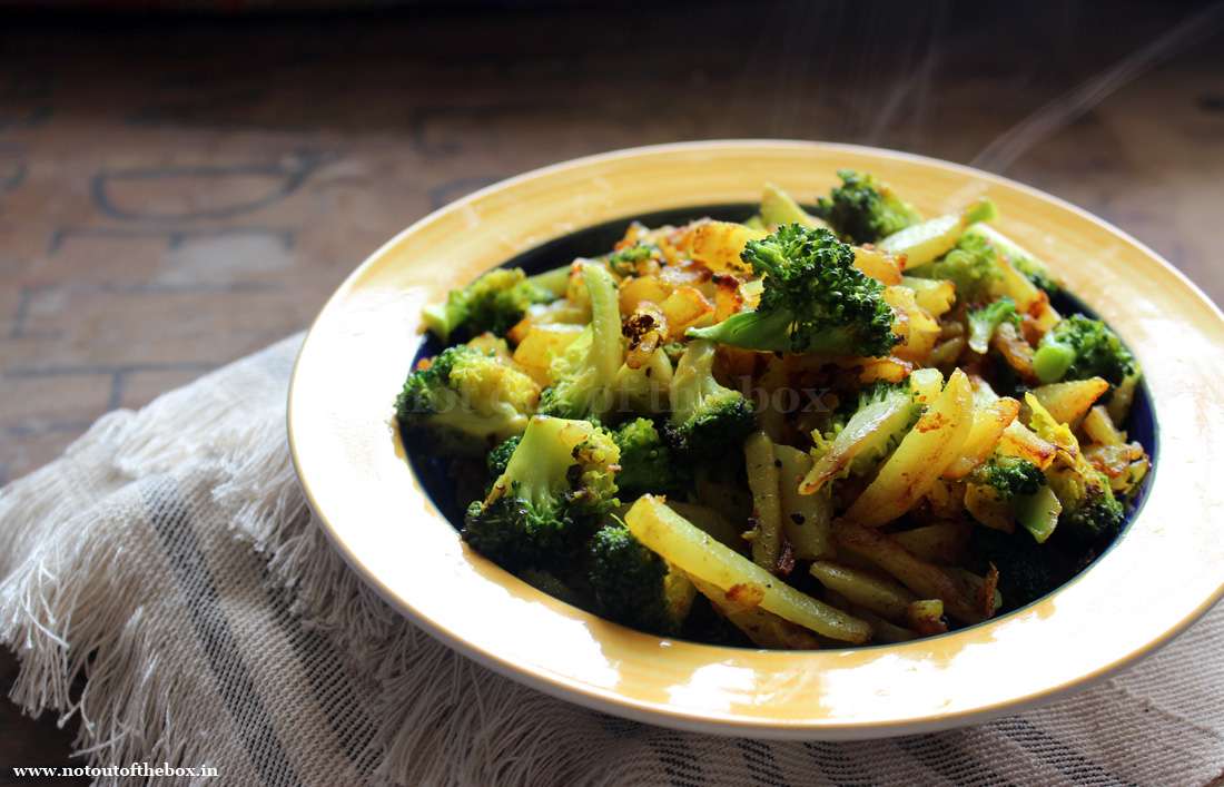 Stir Fried Potatoes with Broccoli/Aloo Broccoli Bhaja