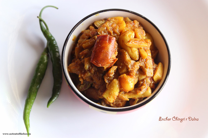 Enchor Chingri r Dalna/Jackfruit Curry with Prawns