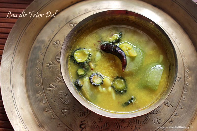 Lau die Tetor Dal/Yellow Moong Dal cooked with Bitter gourd & Bottle gourd