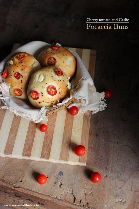 Cherry Tomato and Garlic Focaccia Buns