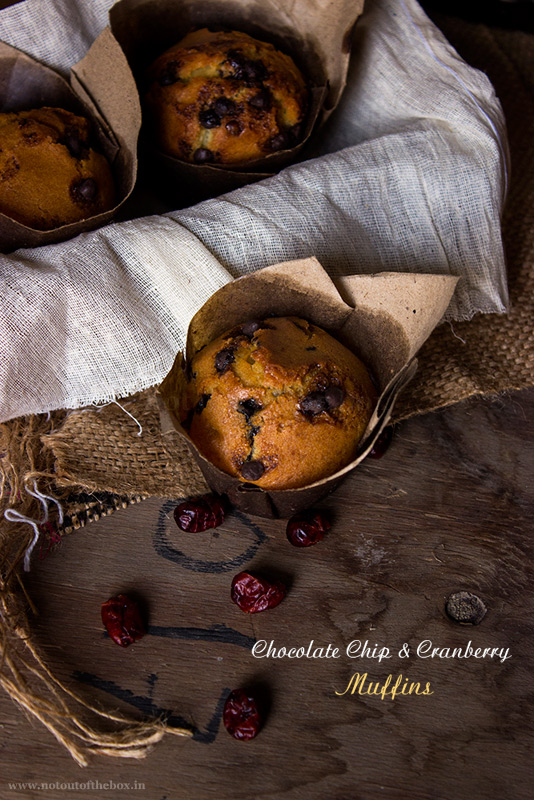 Eggless Chocolate Chip and Cranberry Muffins