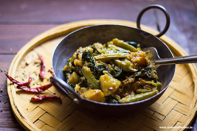 Pui Shaak er Chochhori/Malabar Spinach with Veggies