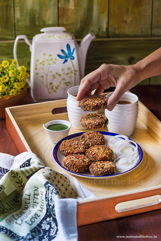 Nestasia's Bamboo tray and Air Fryer Oats Vegetable Cutlets