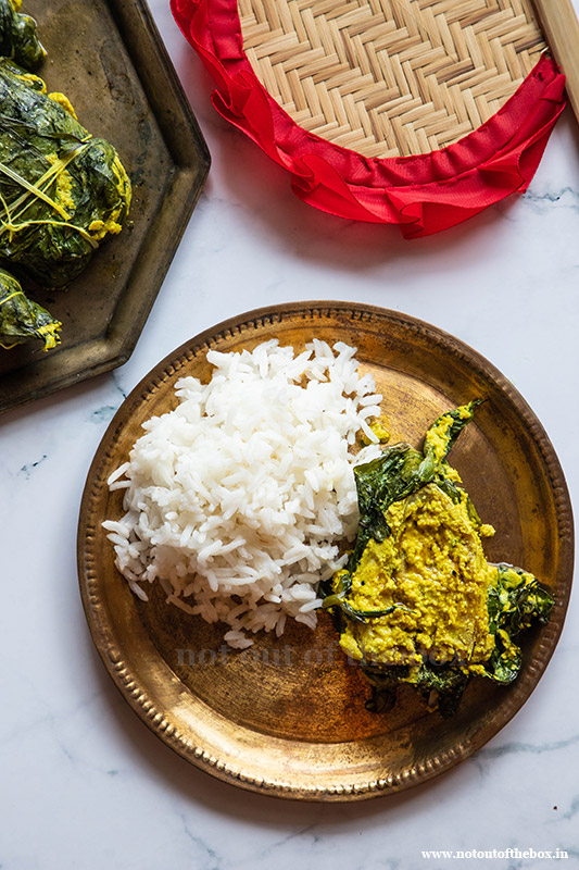 Kochu patai Ilish/Hilsa Paturi in Taro leaves and Mealthy MultiPot Review