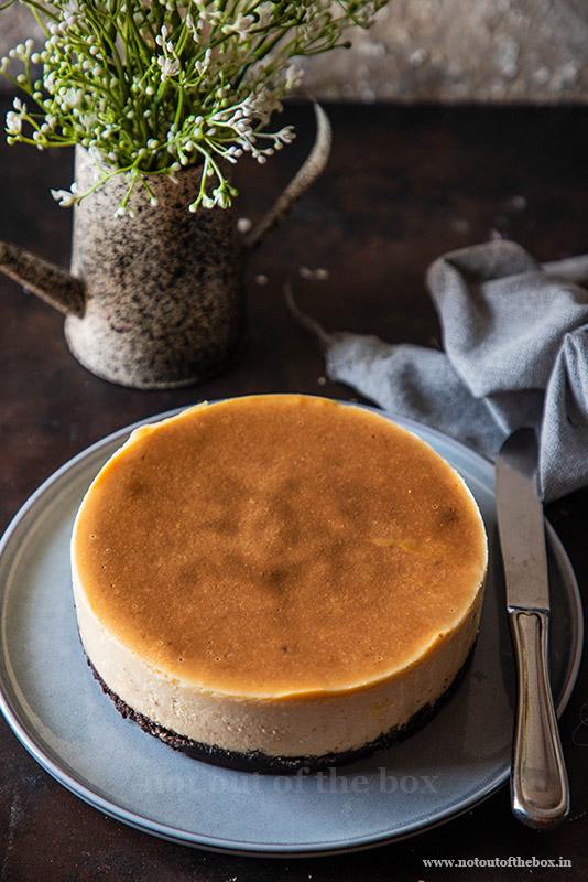 Eggless Baked Cheesecake